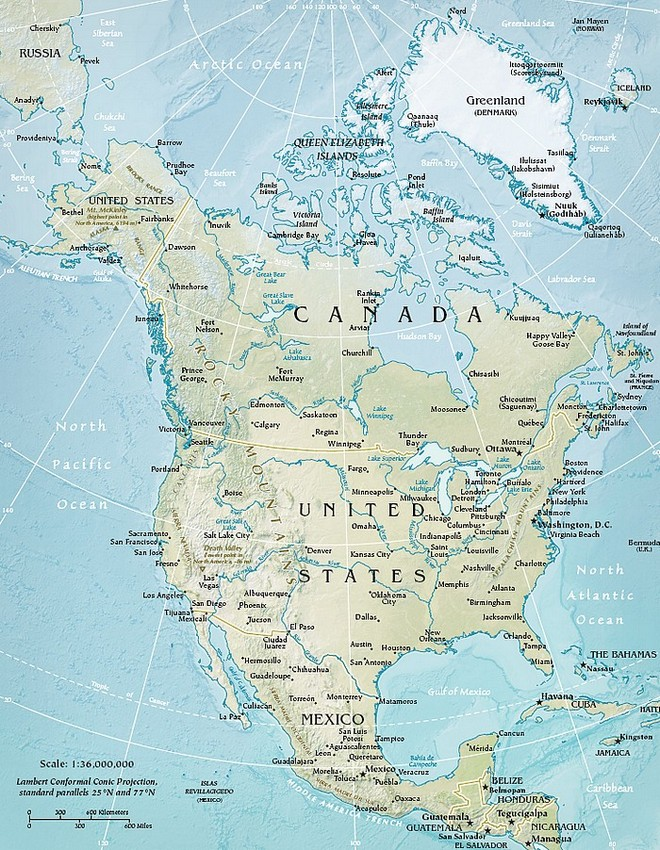 Map of the area North America