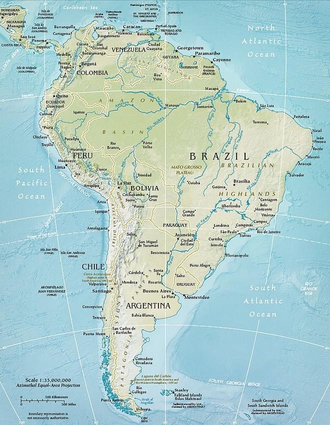 Carte Amerique Ville.Carte De La Region Amerique Du Sud